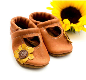 Leather Sunflower Mary Janes Shoes