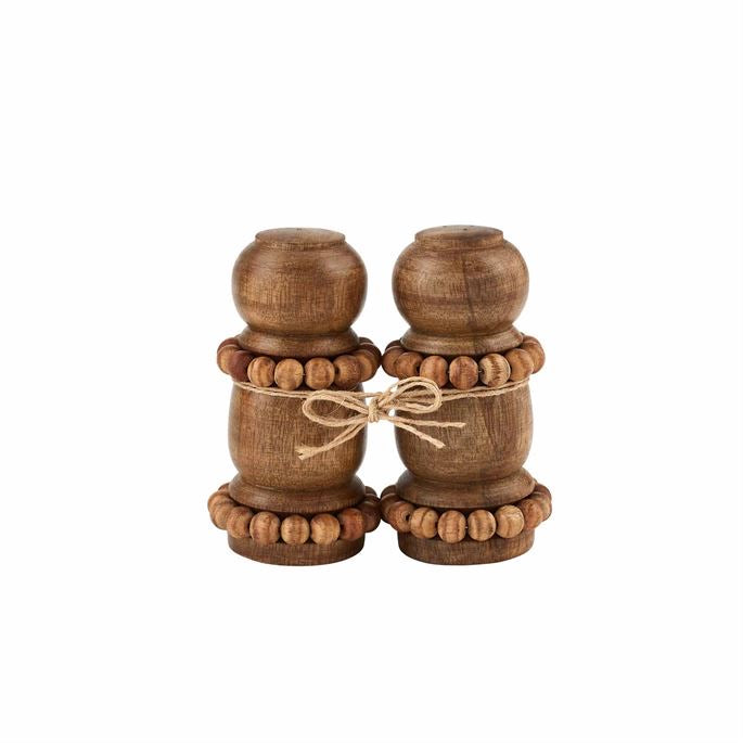 Beaded Wood Salt and Pepper Shakers