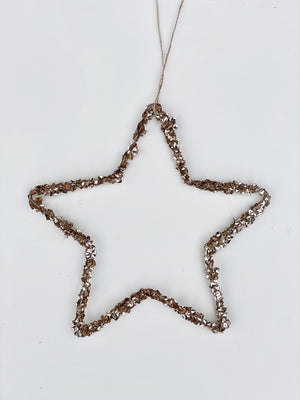 Iron Star with Champagne Glitter Ornament
