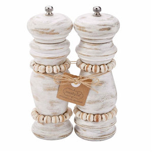 White Washed Beaded Salt and Pepper Grinder