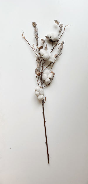 34 Inch Icy Cotton Pod Stem