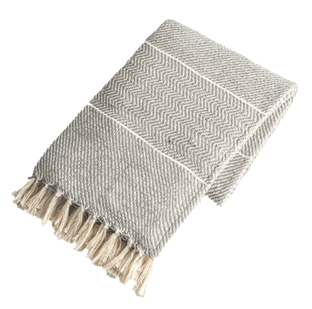 Grey with natural stripe Throw Blanket