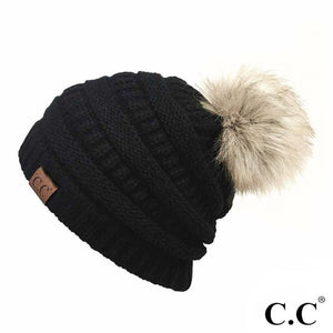 Solid Ribbed Knit Faux Fur Pom Beanie.