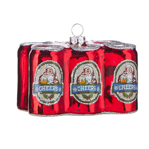 HOLIDAY BEER SIX PACK OF CANS ORNAMENT