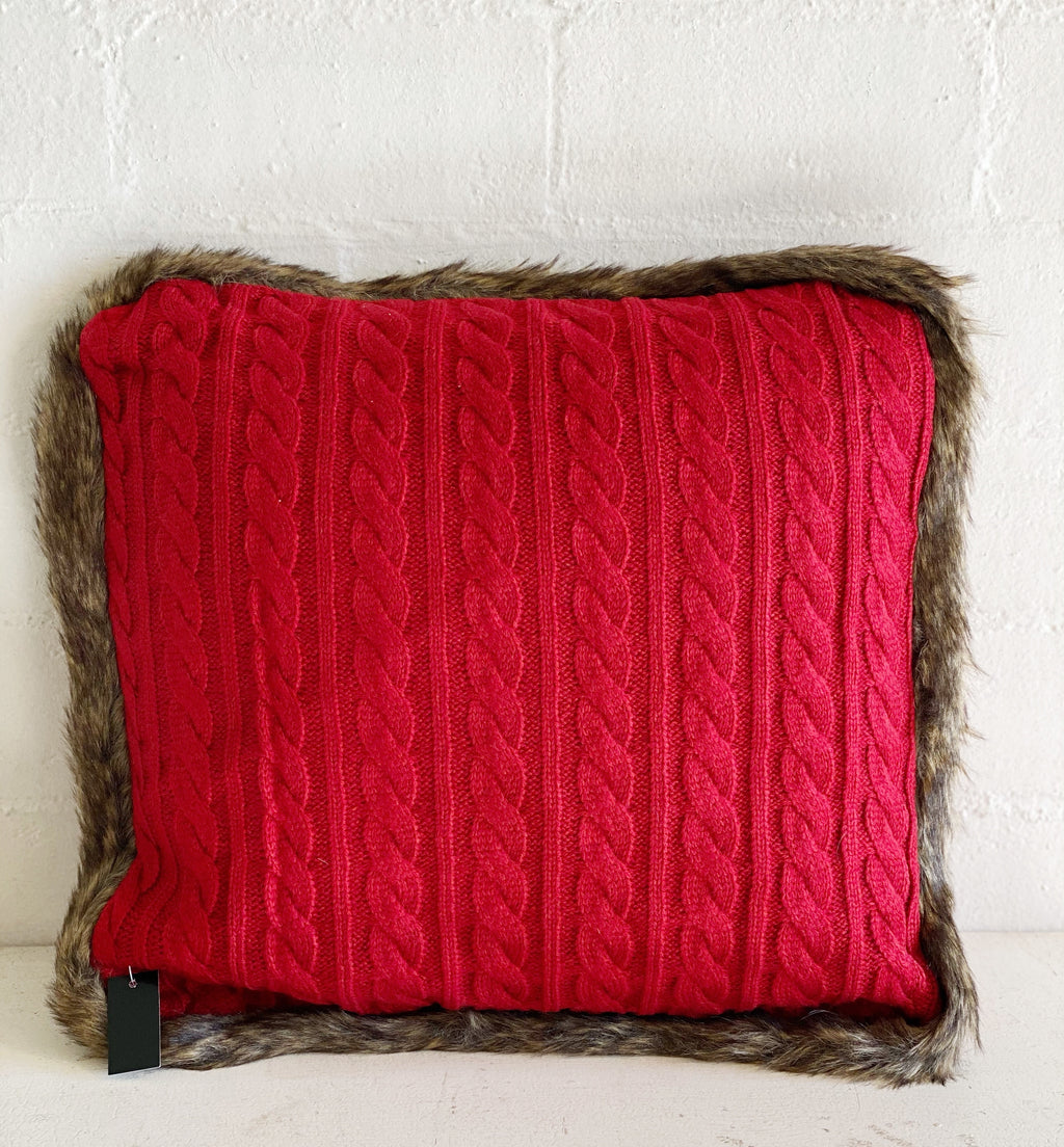 Red Cable Knit Pillow with Fur Trim