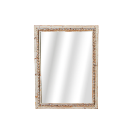 Whitewashed Beaded Wood Mirror