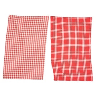Red and Cream Plaid Kitchen Towel