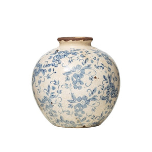 Blue and White Round Vase