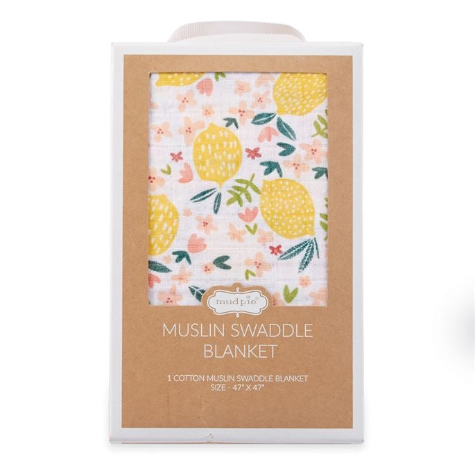 Lemon floral muslin swaddle