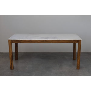 Marble Top Mango Wood Farm Table.