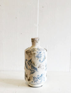 Blue and White Distressed Vase