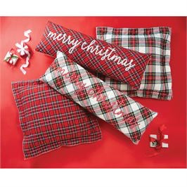 Long Merry Christmas Tartan Pillow