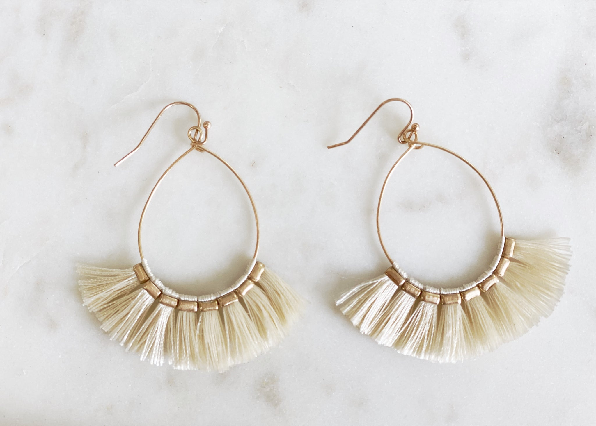 Gold fringe hoop earrings