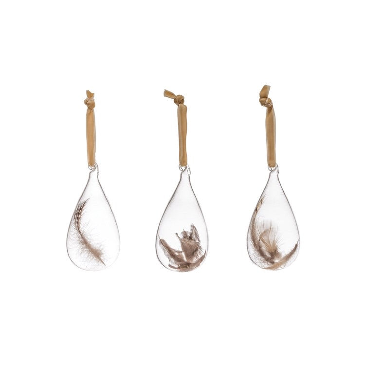 Glass Tear Drop Feather Ornament
