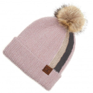 Two Stripe Fur Knit Pom Beanie