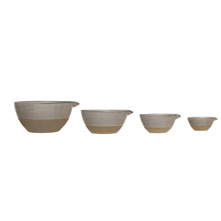 8, 4, 2 & 1/2 Cup Stoneware Batter Bowls, Reactive Glaze, White, Set of 4 (Each One Will Vary)