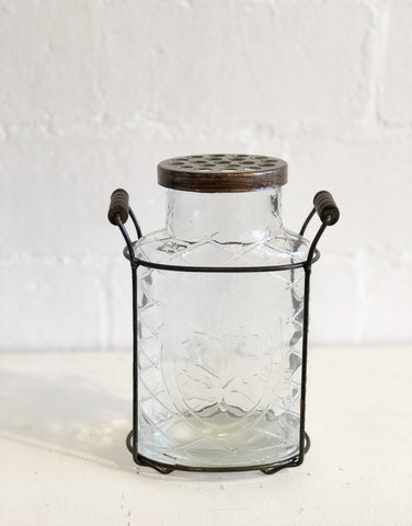 Glass Vase with Metal Frog Lid