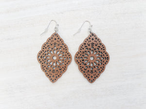 Leather brown earrings