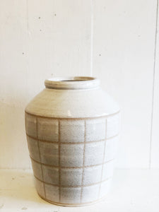 Checked Large Pottery Vase