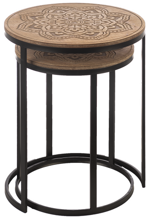 Carved Mandala Side Tables