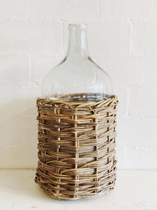 Glass Bottle in Woven Rattan Basket