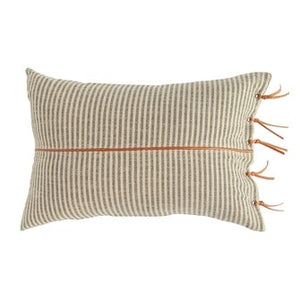 Cotton Ticking Striped Lumbar Pillow w/ Leather Trim, Beige & Black