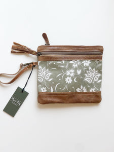 MyraBag Petals on Khaki Wristlet