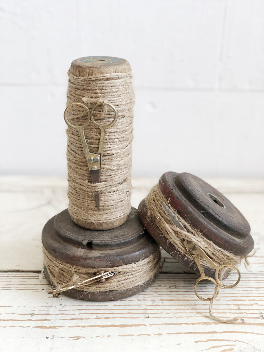Vintage Found Spools with Twine
