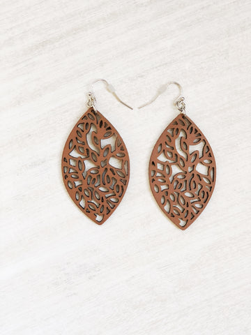 Brown leather earrings