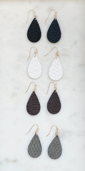 Faux Snake Skin Earrings