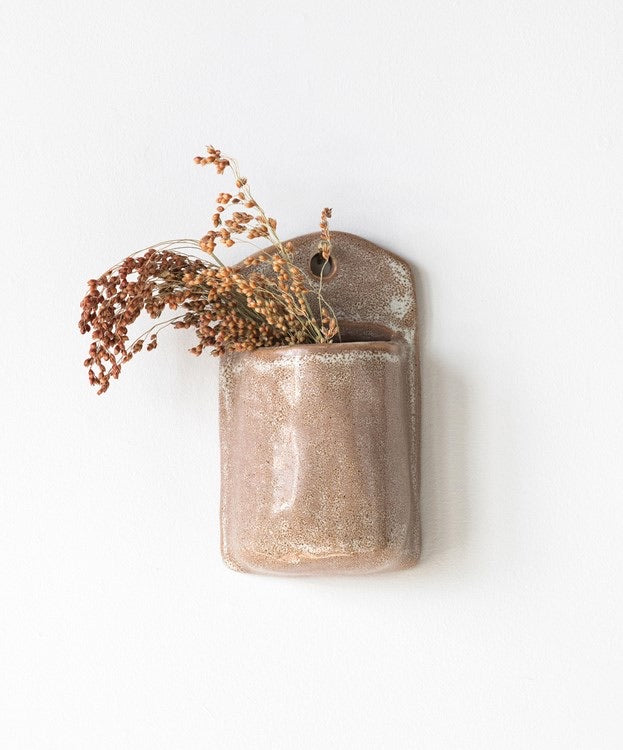 Stoneware Wall Planter Pocket