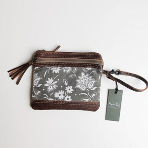 MyraBag Petals on Gray Wristlet