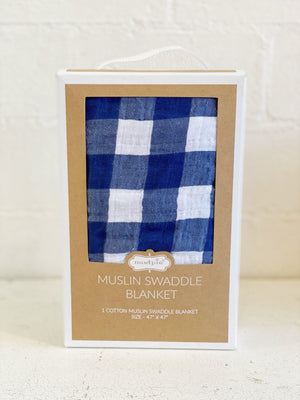 Navy Gingham Swaddle