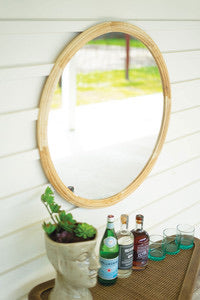 Round wood framed mirror