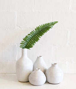 Small white crackled vases