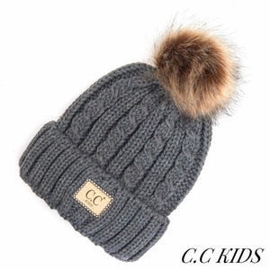 Kids Cable Ribbed Knit Pom Beanie with Natural Faux Fur.
