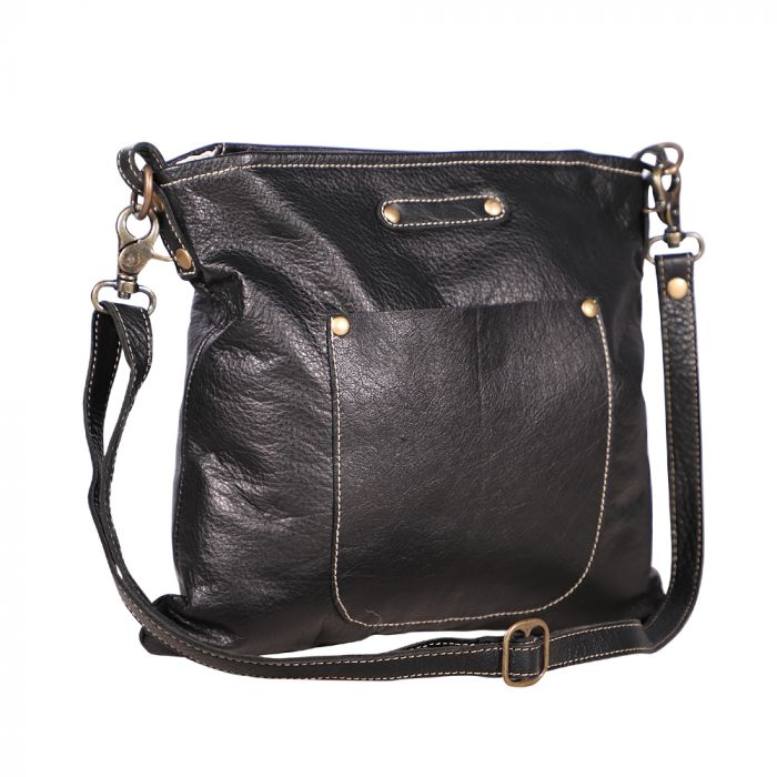 Black Leather Cozy Handbag