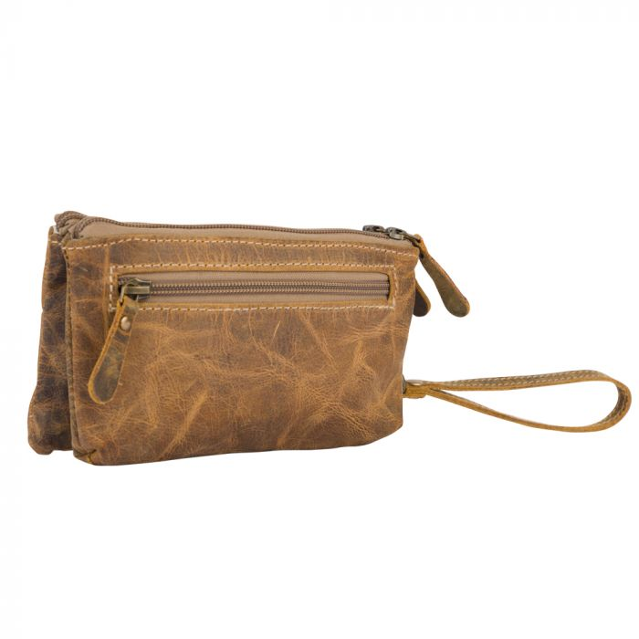 Brown Orchestra Small Leather Wristlet