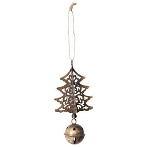 Metal Tree & Bell Ornament, Antique Brass Finish