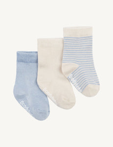 Baby Socks - 3 Pack Chalk Sky Stripe - Boody Baby