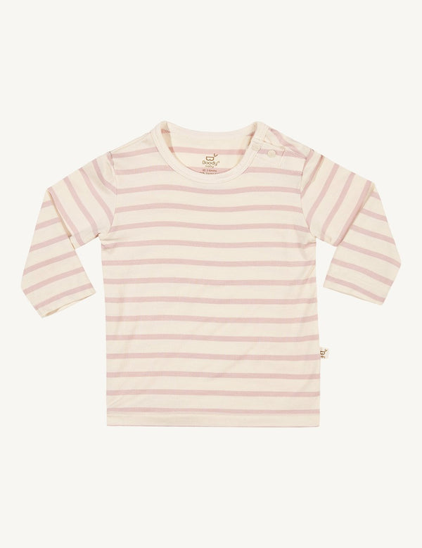 Baby Stripe Long Sleeve Top Chalk/Rose - Boody Baby