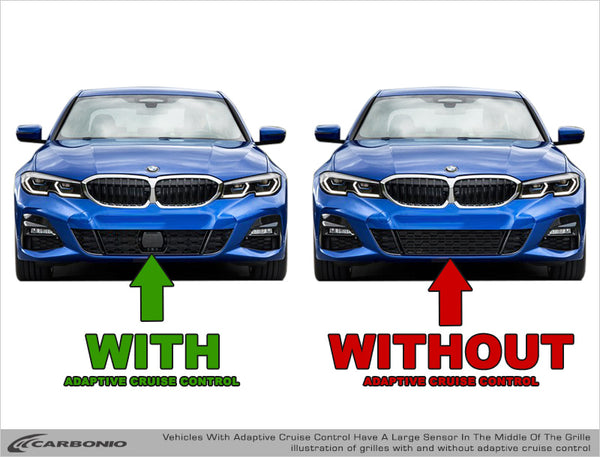 Examples of cars with and without adaptive cruise control sensor