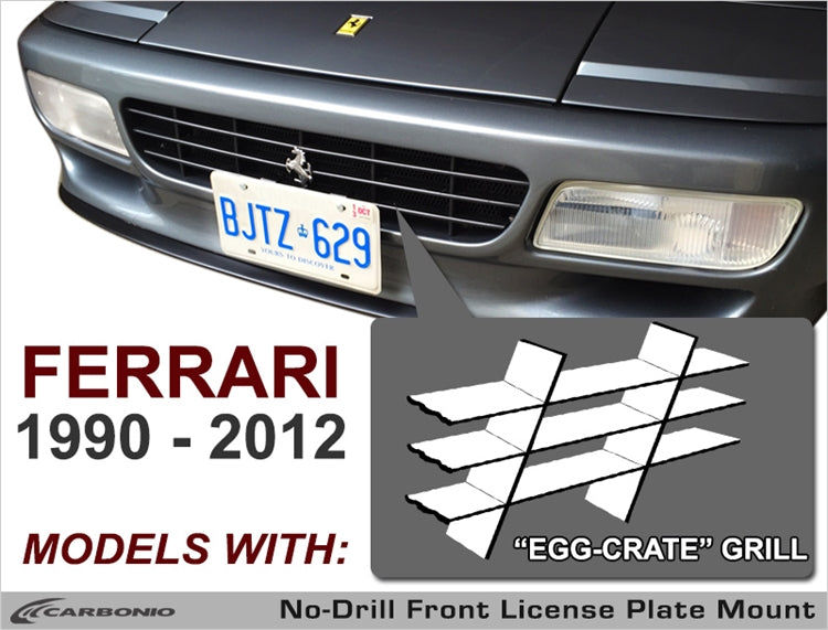 1990 - 2012 Ferrari Models License Plate Mount (for egg-crate grille)