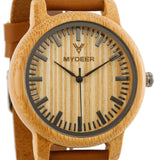 Bamboo Yellow Lines Scale 20A - Wood watches by Mydeer | Engraved Handmade wood and bamboo watches