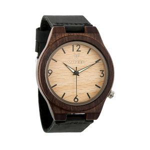 Ebony Numb Luminous 11B - Wood watches by Mydeer | Engraved Handmade wood and bamboo watches