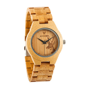 Bamboo Deer 04E Small - Wood watches by Mydeer | Engraved Handmade wood and bamboo watches