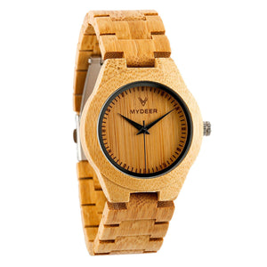 Bamboo Pure 12M Small - Wood watches by Mydeer | Engraved Handmade wood and bamboo watches