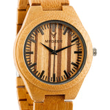 Bamboo Zebra 19H - Wood watches by Mydeer | Engraved Handmade wood and bamboo watches