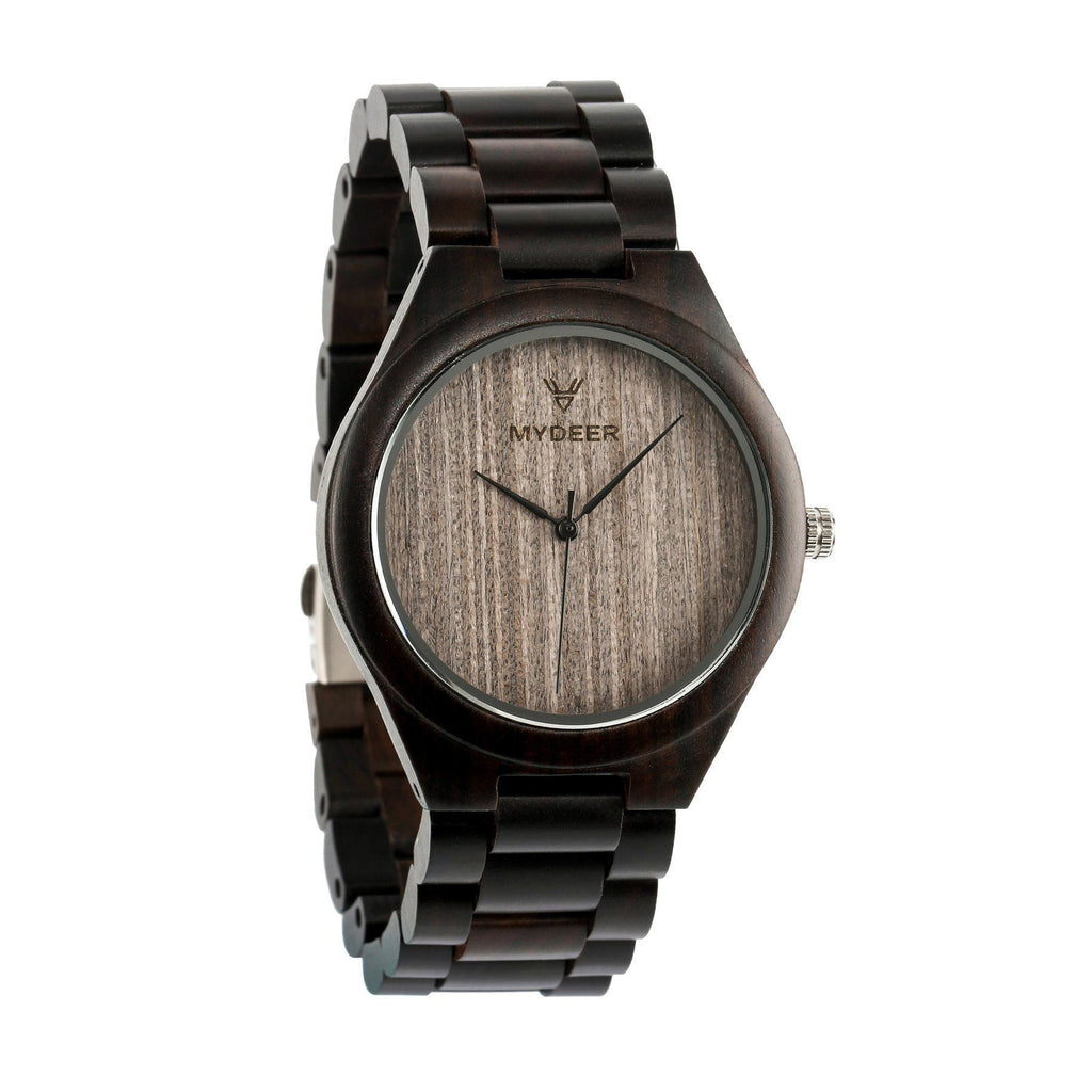 Ebony Gray 06H - Wood watches by Mydeer | Engraved Handmade wood and bamboo watches