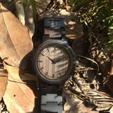 Ebony Gray Scale 30C - Wood watches by Mydeer | Engraved Handmade wood and bamboo watches